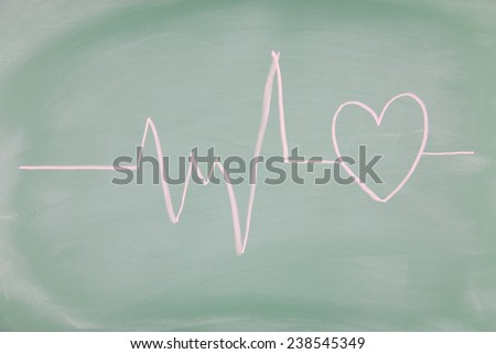 Heart drawn on a blackboard