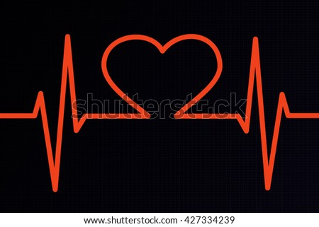 Heart ekg orange background
