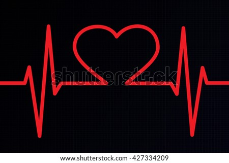 Heart ekg red background
