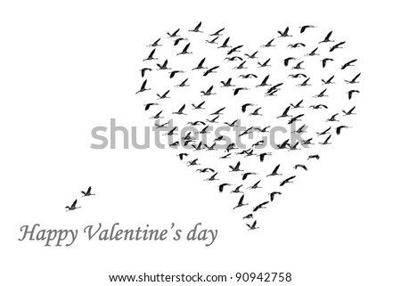 Heart executed from flying cranes on the white background. Congratulation by the Valentine's day