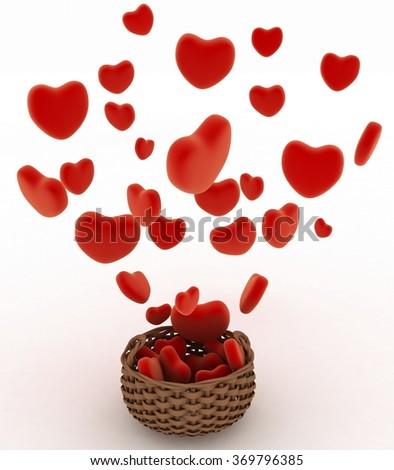 Heart falling into a wicker basket. The concept of a gift with love. 3d render illustration on a white background - stock photo