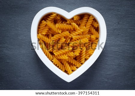Heart filled with gluten free pasta