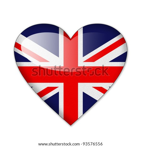 Heart flag Britain in white background - stock photo
