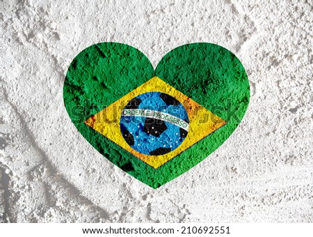 heart Flag of Brazil with Soccer ball  on wall texture background design - stock photo