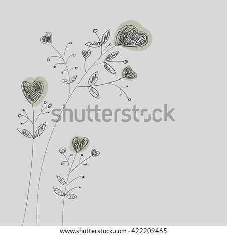 Heart-flowers on stalks. The dashed hand-drawing. - stock photo