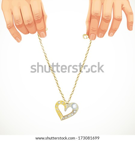 Heart folded of beautiful female hands isolated on white background. Raster version