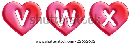 Heart Font - letters - V, W & X - stock photo