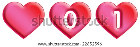 Heart Font - numbers - 1 & 2 - stock photo