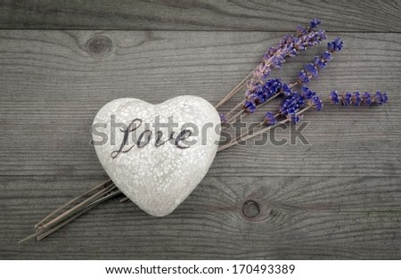 heart for love, with lavender flower, valentines day - stock photo