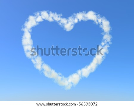 Heart formed from Clouds - stock photo