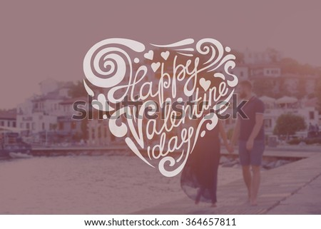 Heart Formed From happy valentine's day Text -Handmade Calligraphy. Couple walking along the seashore - stock photo