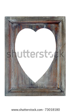 heart frame of wood with copyspace - stock photo