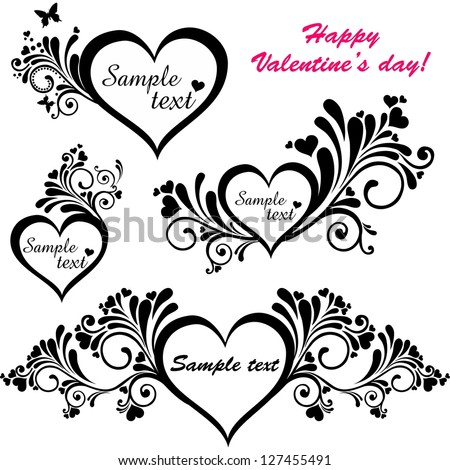 Heart frame with butterfly. Collection of design elements vintage set isolated on White background. illustration - stock photo