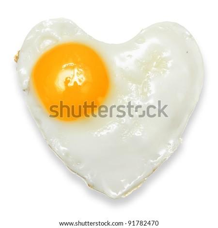 Heart fried egg isolated - stock photo