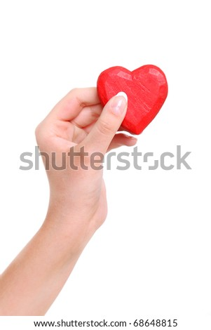 Heart from a wood in hands of the girl