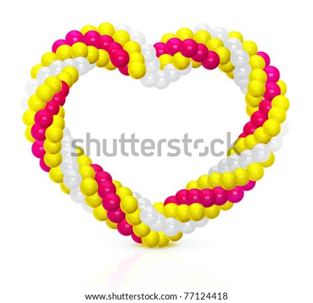 Heart from balloons twisted in a spiral form on white - stock photo