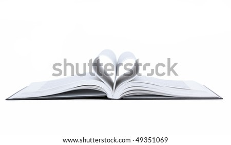 Heart from book pages, isolated - stock photo