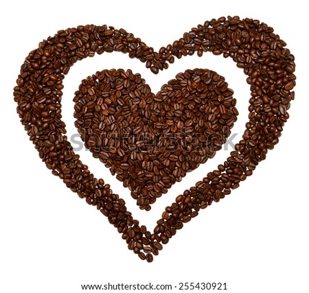 Heart from coffee beans isolated on white background - stock photo