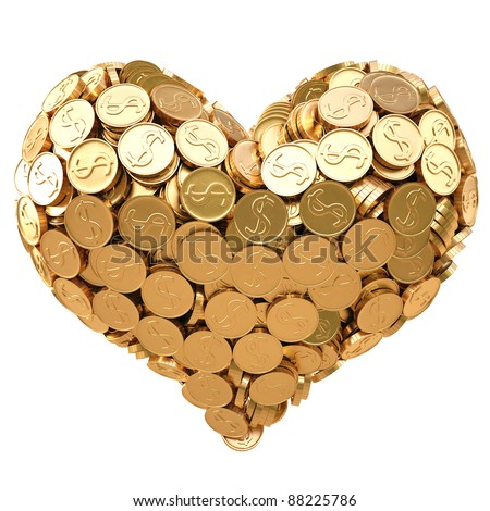 heart from golden coins. isolated on white. - stock photo