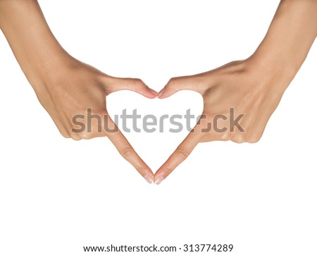 Heart from hands on a white background