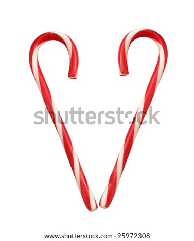 heart from lollipop canes isolated on white - stock photo