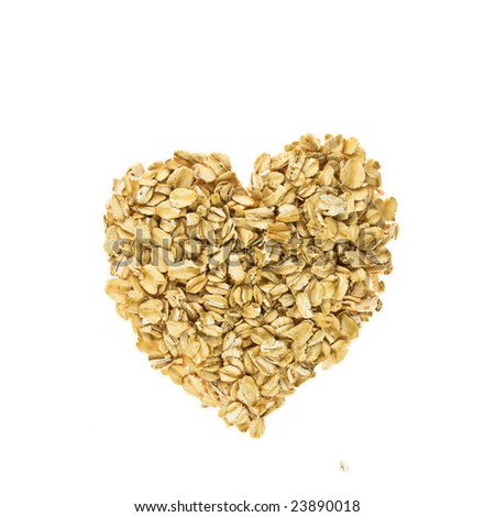 Heart from oatmeal on a white background - stock photo
