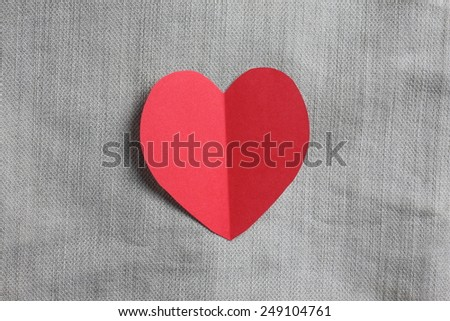 Heart from paper on jeans Background :Valentines day: Valentines Card - stock photo