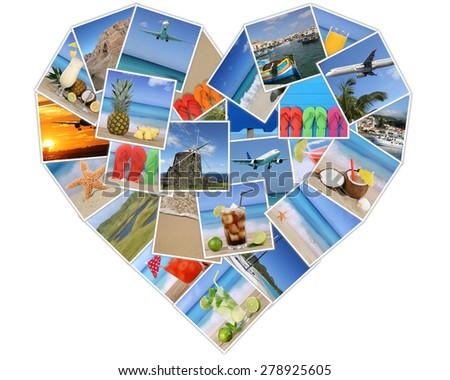 Heart from photos on summer vacation, beach, holiday, drinks and traveling - stock photo