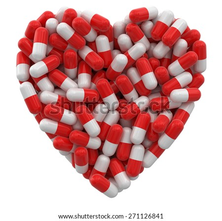 Heart from Pills (clipping path included) - stock photo