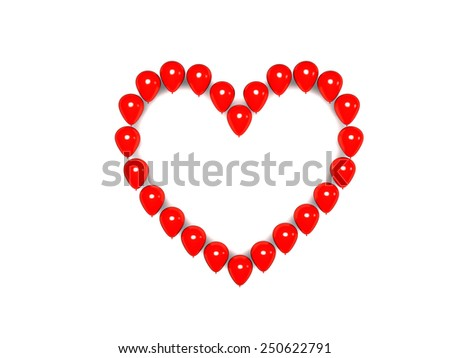 Heart from red balloons - stock photo