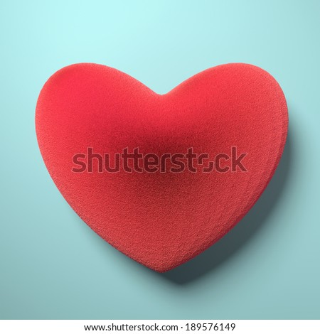 Heart from red fur. 3d render illustration - stock photo