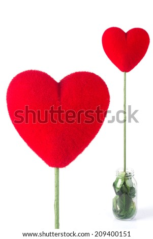 Heart from red fur. 3d render illustration isolated on white background - stock photo