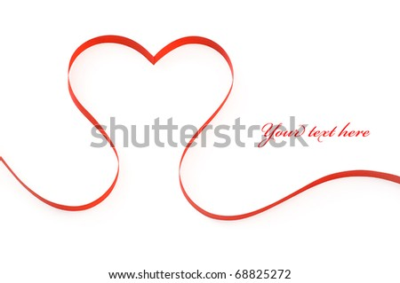 Heart from red ribbon isolated on the white with space for text - stock photo