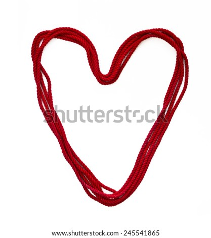 heart from red rope - stock photo