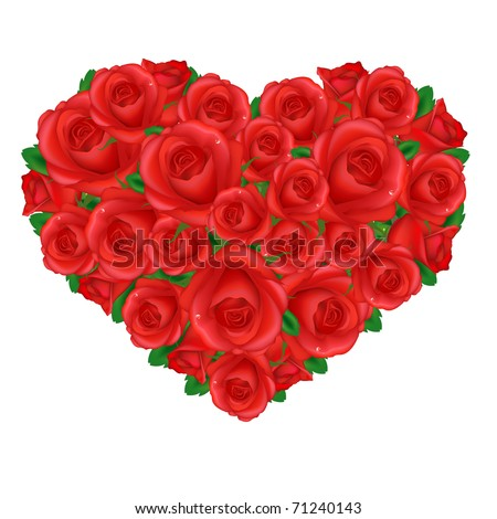 Heart From Red Roses, Isolated On White Background