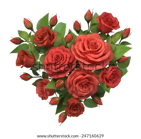 Heart from red roses. Isolated on white decoration. - stock photo