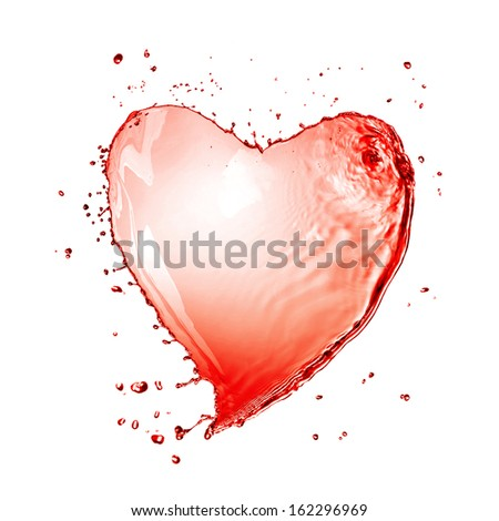 Heart from red wine splash isolated on white - stock photo