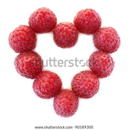Heart from ripe large raspberry isolated on white background. 	 Valentine day heart - stock photo