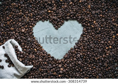 Heart from roasted coffee beans  - stock photo