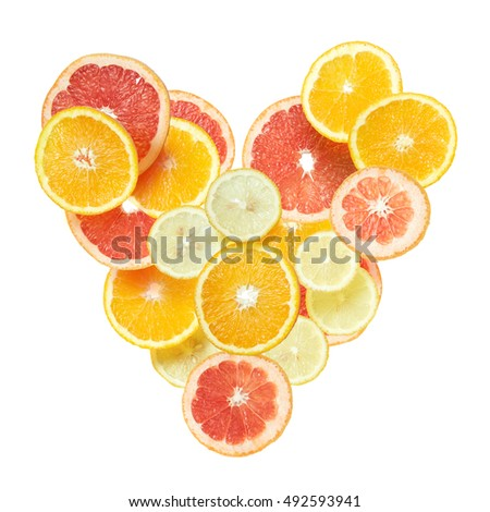 Heart from slices of citrus fruit