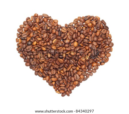 Heart from the corns of coffees isolated on a white background