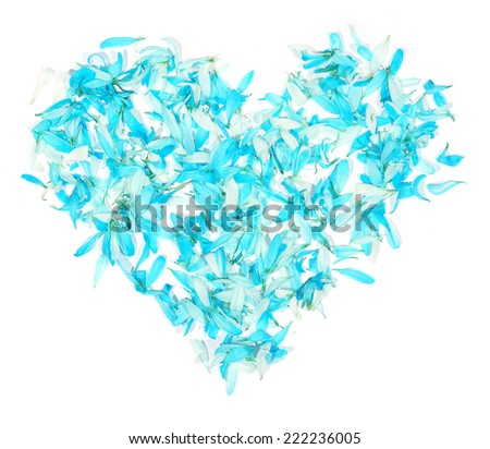 Heart from the petals on the white background, to the day of Sainted Valentine  - stock photo
