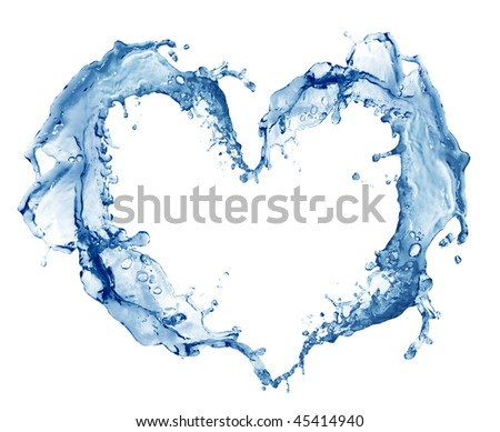 Heart from water. Isolated on white background