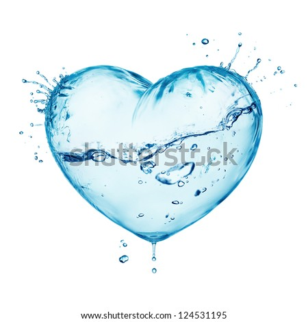 Heart from water splash with wave, inside isolated on white - stock photo