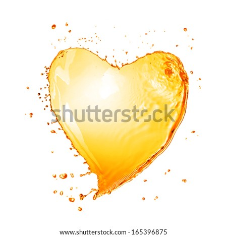 Heart from yellow water splash with bubbles isolated on white - stock photo