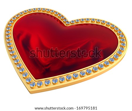 Heart gemstone in gold and diamonds  isolated over white background - stock photo