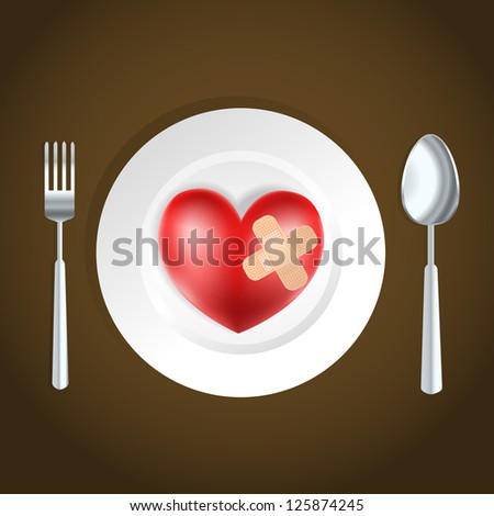 heart health concept fork, knife and heart - stock photo