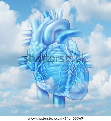 Heart health medical concept with a human cardiovascular body part from a healthy person on a sky background as a medical symbol of clean arteries. - stock photo