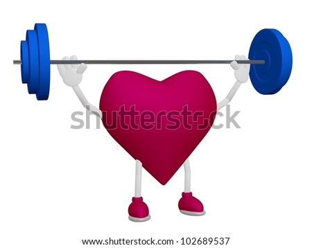 Heart health training weight sport 3d concept on white background