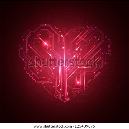 heart high tech background - JPG VERSION - stock photo
